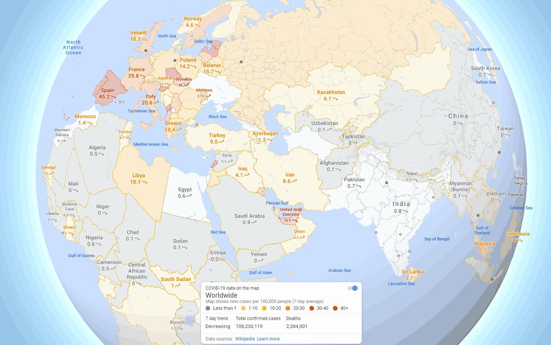 新冠肺炎7天内平均每十万人中新增确诊病例数量(来源谷歌地图)
